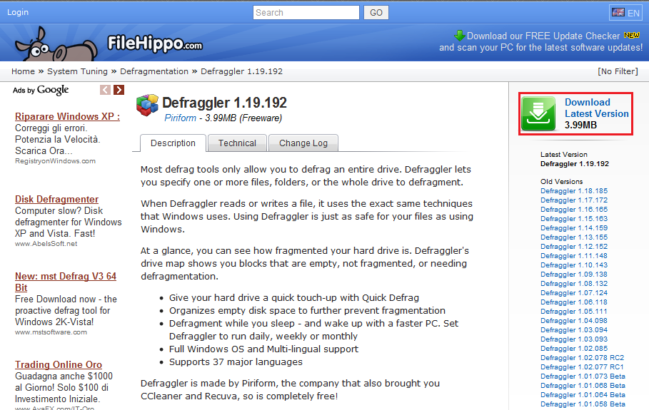 Defraggler deframmentare gli hard disk - Download er finestra ...