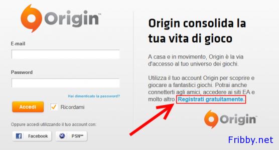 Registrazione Origin